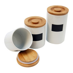 Le Chef - Le Chef Ceramic Storage Canisters (Set of 3) - Both attractive and functional, this white ceramic canister set from Le Chef looks great and offers an airtight location for storing any kind of dry good. The set includes three canisters that are three different sizes: 36, 26, and 20 ounces.