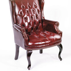 Boss Chairs Boss Wingback Traditional Guest Chair In Burgundy