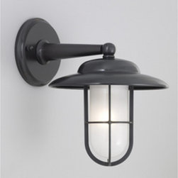 Norwell Lighting - Compton Outdoor Wall Sconce W / Shade - Compton's industrial style form utilizes European castings. Compton outdoor wall sconce features a shiny opal glass shade. Fixture is available with or without umbrella shade. Available in brushed chrome, bronze, chrome, gun metal and raw brass finish. Fixture can be used indoors or outdoors. One 75 watt, 120 volt, A19 medium base incandescent lamp not included. General light distribution. 9W x 11H x 12 inch depth.