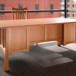 Glasgow Table Desk - The Glasgow Desk features left and right drawers designed with paper slots inside to accommodate limited filing. Pulls on The Glasgow Desk are wooden pegs.