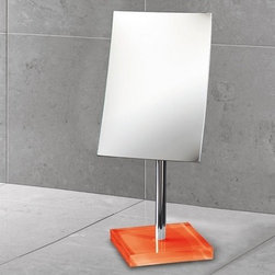 Gedy - Square Magnifying Mirror with Orange Base - Decorative pedestal magnifying mirror with orange thermoplastic base. Pedestal magnifying mirror. Base is made of thermoplastic resins. Orange finish. From the Gedy Rainbow Collection.
