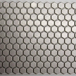 Unglazed Porcelain Mosaics, Matte Ice White - A honeycomb floor would make my kitchen look so pretty this summer!