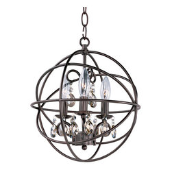 Maxim Lighting International - Orbit Oil Rubbed Bronze Three Light Pendant - - A spherical frame of metal surround a simple line chandelier draped in crystal for a transitional style that fits any interior design  - Orbit is available in 2 sizes and 2 finishes, Oil Rubbed Bronze with Cognac crystal and a combo finish of Anthracite and Polished Nickel with Clear crystal  - Bulb Not Included Maxim Lighting International - 25140OI
