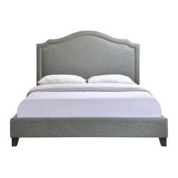 "LexMod - Charlotte Queen Bed Frame in Gray - Charlotte Queen Bed Frame in Gray - Powerful lines complement soft hues with this bed ensconced in whispered elegance. Luxuriously crafted with a nail head decorative trim and tufting, Charlotte is a bedroom centerpiece that imbues elegance, while bestowing a gentle flow over your surroundings. Set Includes: One - Charlotte Footboard One - Charlotte Headboard One - Charlotte Siderail Contemporary queen sized bed, Extra tall upholstered headboard featuring inset upholstery nails, Does not include a mattress or box spring, Wipe clean with dry cloth, Wipe clean with dry cloth, Does not require a box spring Overall Product Dimensions: 88.5""L x 65.5""W x 51.5""H Mattress Frame Dimensions: 81.5""L x 61""W Floor to Bottom of Bed: 3.5""H Footboard Dimensions: 3.5""L x 65.5""W x 12""H Siderail Thickness: 2.5""W - Mid Century Modern Furniture."