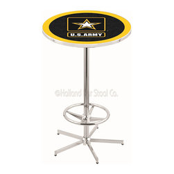 Holland Bar Stool - Holland Bar Stool L216 - 42 Inch Chrome U.S. Army Pub Table - L216 - 42 Inch Chrome U.S. Army Pub Table  belongs to Military Collection by Holland Bar Stool Made for the ultimate sports fan, impress your buddies with this knockout from Holland Bar Stool. This L216 U.S. Army table with retro inspried base provides a quality piece to for your Man Cave. You can't find a higher quality logo table on the market. The plating grade steel used to build the frame ensures it will withstand the abuse of the rowdiest of friends for years to come. The structure is triple chrome plated to ensure a rich, sleek, long lasting finish. If you're finishing your bar or game room, do it right with a table from Holland Bar Stool.  Pub Table (1)