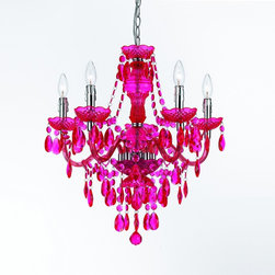 5-Light Chandelier, Hot Pink - Hot pink is back, and this chandelier would be perfect in a little girl's room.