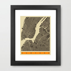 NYC Map Art Print - Love the big city of all big cities: NYC. Display your love and affection for the Big Apple with this vintage-look map of New York City art print.
