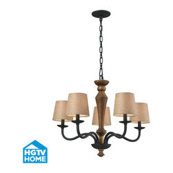 Elk Lighting - Early American 5-Light Chandelier in Vintage Rust - The combination of wood and iron is a historic pairing of materials inspired by the early days of colonial america. Solid wood is either turned or milled to provide an understated hand-made character. The colonial maple finish compliments the vintage rust metalwork while the wheat linen shades cast a warm glow of light.