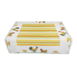 Xia Home Fashions - Hens&Chicks 36 By 36-Inch Table Topper - Bright country rooster and baby chicks in yellow striped edge pattern. Bring a little country into your kitchen!