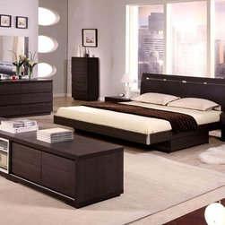 Exclusive Quality Elite Modern Bedroom Sets with Extra Storage - Modern master bedroom with storage drawers and ambient lights. Prime Classic Design combines innovative architecture with genuine quality materials to ensure a multi sensory experience to you and your guests with this Modern Bed Group.
