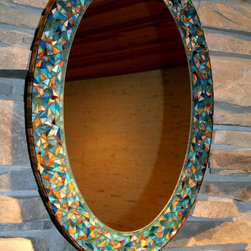 """Oval """"Wild Thing"""" Mosaic Stained Glass Mirror -"""