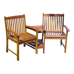 International Caravan - International Caravan Chatham Corner Double Patio Chair in Stain - International Caravan - Patio Dining Chairs - VF4113Stain - For over 44 years International Caravan has been one of the leaders in quality outdoor and indoor furniture. Using only the finest materials they bring skill craftsmanship and complete dedication to those who enjoy their furniture. You cannot go wrong with any of International Caravan's beautifully constructed pieces of furniture that are sure to be a focal point inside or outside of your home for years to come.