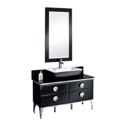 """Fresca - Fresca Moselle 47"""" Glass Vanity w/ Mirror - Dimensions of vanity:  47.25""""W x 18""""D x 34""""H. Dimensions of mirror:  24.5""""W x 48.5""""H. Materials:  Steel frame, tempered glass countertop, ceramic sink, Ebony Macassar veneer drawers. Single hole faucet mount. P-trap, faucet, pop-up drain and installation hardware included.  The Moselle vanity is the epitome of luxury.  This high quality vanity has a steel frame construction with a tempered glass exterior.  The interior drawers are made from Ebony Macassar which gives it a classic, high end look."""