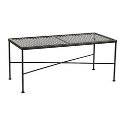 Ballard Designs - Castellon Coffee Table - Coordinates with our Castellon Outdoor Seating. Charcoal finish. Table Top has basket weave stamped design for easy care. Use of an outdoor furniture cover is recommended to extend the life of your piece. Made in USA. The simple, sculptural lines and timeless details of our Castellon Outdoor Coffee Table whisper relaxation with effortless style. Wrought iron and steel frame is fully welded for enduring strength and powder-coated to resist moisture, chipping and rust.Castellon Coffee Table features: . . . . .