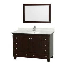 "Wyndham Collection(R) - Acclaim 48"" Single Bathroom Vanity by Wyndham Collection - Espresso - Sublimely linking traditional and modern design aesthetics, and part of the exclusive Wyndham Collection(TM) Designer Series by Christopher Grubb, the Acclaim Vanity is at home in almost every bathroom decor. This solid oak vanity blends the simple lines of traditional design with modern elements like square undermount sinks and brushed chrome hardware, resulting in a timeless piece of bathroom furniture. The Acclaim is available with a White Carrera or Ivory marble counter, porcelain sinks, and matching mirrors. Featuring soft close door hinges and drawer glides, you'll never hear a noisy door again! Meticulously finished with brushed chrome hardware, the attention to detail on this beautiful vanity is second to none and is sure to be envy of your friends and neighbors! Acclaim Bathroom Vanities are available here in multiple sizes and finishes and are now available with optional CaesarStone® counters! The Wyndham Collection is an entirely unique and innovative bath line. Sure to inspire imitators, the original Wyndham Collection sets new standards for design and construction. FeaturesConstructed of environmentally friendly, zero emissions solid Oak hardwood, engineered to prevent warping and last a lifetime12-stage wood preparation, sanding, painting and finishing processHighly water-resistant low V.O.C. sealed finishCutting edge, unique styling by Interior Designer Christopher GrubbPractical Floor-Standing DesignMinimal assembly requiredDeep Doweled DrawersFully-extending under-mount soft-close drawer slidesConcealed soft-close door hinges Counter options include Ivory Marble, White Carrera Marble and Custom Black GraniteCounters include 3"" backsplash Counters include porcelain undermount sinks Pre-drilled for a single hole faucet Faucet not included Matching mirror availableMetal exterior hardware with brushed chrome finishTwo (2) functional doorsEight (8) functional drawersPlenty of storage space Includes drain assemblies and P-traps for easy assembly Variations in the shading and grain of our natural stone products enhance the individuality of your vanity and ensure that it will be truly uniqueDesigned by famous Beverly Hills interior designer Christopher Grubb exclusively for Wyndham Collection How to handle your counter Spec Sheet Installation Instructions Installation Guide for Vessel Sinks --> Installation Guide for Mirrors --> Spec Sheet for Linen Tower Spec Sheet for Wall Cabinet Spec Sheet for WC-K-W045 Spec Sheet for (V202) Spec Sheet for (V203) Spec Sheet for (V205) Spec Sheet for (V206) Please note that all custom natural stone and Caesarstone counters are proudly manufactured in the USA specifically for your order, and so require up to 3 weeks manufacturing time. Caesarstone Carbone, Starry Night, Spring Blossom, and Marrone are made from recycled content. Quartz Reflections and Ruby Reflections colors are made with up to 35% post-consumer recycled glass. Chocolate Truffle color is made with up to 17% post-consumer recycled glass. Natural stone like marble and granite, while otherwise durable, are vulnerable to staining from hair dye, ink, tea, coffee, oily materials such as hand cream or milk, and can be etched by acidic substances such as alcohol and soft drinks. Please protect your countertop and/or sink by avoiding contact with these substances. For more information, please review our ""Marble & Granite Care"" guide."