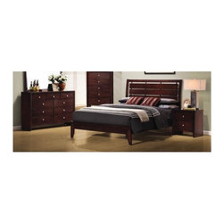 Coaster - Serenity 3-Pc Platform Bedroom Set (Queen) - Choose Bed Size: QueenIncludes platform bed, nightstand and dresser. Transitional style. Bed with clean lines and splayed legs. Cut-out designed headboard. Nightstand with two drawers. Dresser with nine drawers. Drawers offer ample space for holding clothing, linens, socks and jewelry. English dovetail drawers. Metal on metal drawer glides for stable and durable design. Brushed nickel hardware. Made from select hardwoods and veneers. Rich merlot finish. Queen bed: 86.25 in. L x 64 in. W x 50.5 in. H. Eastern king bed: 86.25 in. L x 80 in. W x 50.5 in. H. Dresser: 55.25 in. W x 16.5 in. D x 38.5 in. H. Nightstand: 31.5 in. W x 16.5 in. D x 36 in. H. Warranty