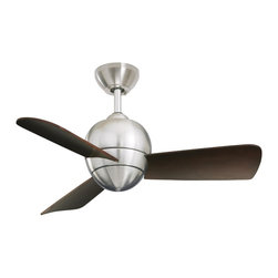 Emerson - Emerson Tilo Ceiling Fan in Brushed Steel - Emerson Tilo Model CF130BS in Brushed Steel with Dark Cherry Finished Blades.