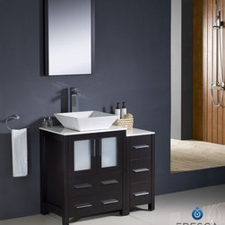 "Fresca - Fresca Torino 36"" Modern Bathroom Vanity w/ One Side Cabinet & Vessel Sink - Esp - Fresca is pleased to usher in a new age of customization with the introduction of its Torino line. The frosted glass panels of the doors balance out the sleek and modern lines of Torino, allowing it to fit perfectly in both 'Town' and 'Country' décor.The Fresco Torino bathroom vanity is 35.75"" wide and 33.75"" high, and boasts 18.13"" deep under-sink storage space – perfect for towels and other bathroom necessities. This bathroom vanity is completed with a 20.75"" wide x 31.5"" high x 1.25"" deep wall mounted mirror for optimal function and style.Items included: Main Vanity Cabinet(s), Countertop(s), Vessel/Integrated Sink(s), Mirror(s), Faucet(s), P-Trap and Pop-Up Drain(s), Standard hardware needed for installation.DecorPlanet is proud to offer Fresca Bathroom products. Fresca is a leading manufacturer of high-quality vanities, accessories, toilets, faucets, and everything else to give you the freshest bathroom in the neighborhood. Fresca is known for carrying the latest and most popular styles in modern and contemporary bathroom design that are made with high quality materials and superior workmanship."