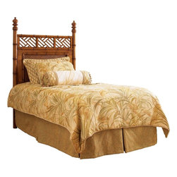 Lexington - Tommy Bahama Home Island Estate West Indies Twin Headboard - Perfect for children or guest rooms, the dramatic island flair is appreciated even in a smaller scale. The carved bamboo posts with chippendale inspired cutouts above a woven rattan panel gives rise to the peaceful tropics.