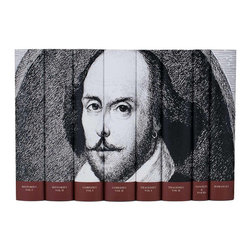 Juniper Books - William Shakespeare Set - An eight-volume set of Shakespeare's complete works with an illustrated portrait of The Bard. From Romeo & Juliet to Sonnet 138, this set adds every poem and play to your collection and looks great on your shelf. Each book is a clothbound, heirloom quality hardback. All books are brand new from the publisher, Everyman's Library, with jackets designed and printed by Juniper Books on tear and water resistant paper.