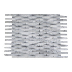 "GlassTileStore - 3d Interlace White Carrera Marble Tile - 3D Interlace White Carrera Marble Tile             The 3D basket weave pattern gives a unique and elegant to your room. This modern and contemporary tile can be used as a feature wall, back splash, fireplace, or kitchen. This pattern will draw the eye straight to the back splash. The natural material will have a color variation.          Chip Size: 3/8"" x 3""   Color: White Carrera   Material: Stone   Finish: Polished   Sold by the Sheet - each sheet measures 11 1/2"" x 9"" (0.72sq. ft.); 14 rows per sheet   Thickness: 8mm   Please note each lot will vary from the next.            - Glass Tile -"