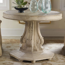 """Modern History - Modern History Home Architectural Center Table - Timeless design and exceptional workmanship build the foundation for Modern History's collection of fine furniture. This stunning architectural table lends vintage-inspired glamour to the living or dining room. Capped with a classic round table top and finished with a sculpted foot, its intricately carved pedestal makes a dramatic centerpiece. Handcrafted with high standards of construction and attention to detail, this piece is backed by a second-generation family tradition of furniture manufacturing. Made from wood; natural weathered finish. 38"""" Diameter x 29""""H"""