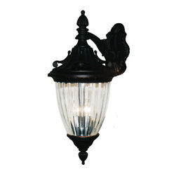 "Z-Lite - Z-Lite 505B 3 Light Down Lighting 24"" Height Outdoor Wall Light with Glass Oval - Z-Lite 505B 3 Light Down Lighting 24"" Height Outdoor Wall Light with Glass Oval Shade from the Waterloo CollectionThe Waterloo family is a study in timeless elegance. The intricate details incorporate feather, fanning and filigree motifs throughout the entire fixture, including the mounting plate. The ribbed, semi clear glass casts a bright spill of light while the frosted glass casts a soft glow of light. These fixtures are comprised of cast aluminum which withstands nature's seasonal elements and are available in black, black gold or black silver finishes.Features:"