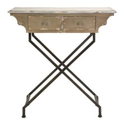 Cannon Entry Table - This unique desk style entry table features a unique design and is a fabulous conversation starter for any foyer!