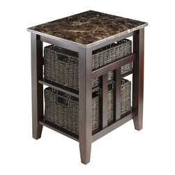 """Winsome Wood - Winsome Wood Zoey Accent Table X-02367 - The new Zoey Collection brings elegance to our solid wood designs. The Zoey Side table features a Solid wood frame, finished in a dark Chocolate, complimented by a beautiful dark faux marble top. Two Shelves sits under table top, housing 2 Woven Baskets in a complimenting dark color. Providing deep storage spaces, the Zoey Side table is sturdy, functional and stylish. Assembled size is 20.08""""W x 16.54""""D x 25.04""""H.  Shelf Opening is 11.73""""W x 18.50""""D x 8.62""""H.  Foldable Baskets open size is 16"""" x 11"""" X 7"""".  Table requires assembly."""