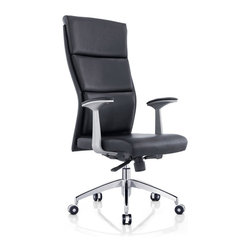 White Line Imports - Harvard Executive High Back Office Chair in Black - Make an optimal solution for your home / office with the Harvard Office Chair. This chair has high back design with synchronized mechanism (5 positions), chrome aluminum base with castors and chrome armrests with leatherette arm pads.