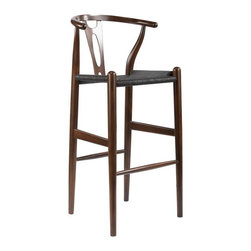 "Wholesale Interiors - Mid-Century Modern Wishbone Stool and Dark Brown Wood Y Stool with Black Seat - This mid-century bar chair features traditional wood construction paired with a modern form, resulting in a unique piece for your home. The frame consists of solid wood with a black finish, a curved backrest, and a sturdy, taut dark brown hemp cord seat. This item will arrive fully assembled and is also available with a undyed seat in natural, green, black, or white and as a dining chair in natural, dark brown, pink, green, black, or white (each sold separately). This is a quality reproduction of the Hans Wegner Wishbone Chair, which is also known as the Wegner Y Chair, Carl Hansen Wishbone Chair, CH24 Wishbone Chair, and the Wegner CH24. Seat Dimensions: 28.5"" H x 17"" W x 15"" D. Overall Dimensions: 40.75"" H x 19.5"" W x 18"" D."
