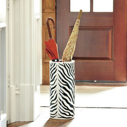 Ballard Designs - Zebra Patio Umbrella Stand - I know some Seattle folks are wondering about where to put your umbrellas — get a fun umbrella stand and set it right next to your entry table.