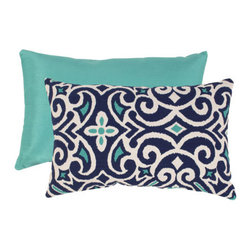 Pillow Perfect - Blue and White Damask Rectangular Throw Pillow - - Woven Texture  - 100% Virgin Recycled Polyester Fill  - Sewn Seam Closure  - Spot Clean Only  - Made In USA  -Please note that image shows front and back of pillow. Only one pillow is being sold. Pillow Perfect - 475134