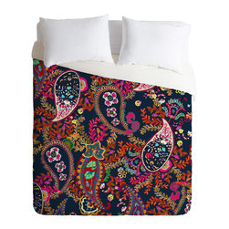 DENY Designs - Rachelle Roberts Boho Paisley Navy Duvet Cover - Turn your basic, boring down comforter into the super stylish focal point of your bedroom. Our Luxe Duvet is made from a heavy-weight luxurious woven polyester with a 50% cotton/50% polyester cream bottom. It also includes a hidden zipper with interior corner ties to secure your comforter. it's comfy, fade-resistant, and custom printed for each and every customer.