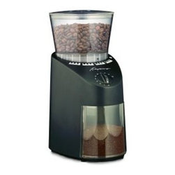 Capresso Infinity Conical Burr Grinder - The difference between coffee shop coffee and home coffee is often the grind. People who love coffee swear a professional burr grinder which gives you the right grind for the perfect cup.