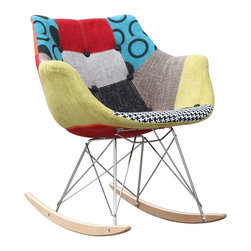 Fine Mod Imports - Fine Mod Ginger Rocker Arm Chair - Add a splash of color to your home with this uniquely designed rocker arm chair. The Ginger Rocker Arm Chair is covered with high quality cotton fabric in a patchwork design. It is a comfortable  stylish and supportive chair.