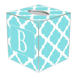 Marye Kelley - Chelsea Grande Aqua Personalized Tissue Box Cover - The Chelsea Grande tissue box cover's custom design exudes modern glam. Featuring silver trim, this personalized monogram accessory's mod Moroccan tile print excites in aqua and white hues. Available in papier mache, tin and wood; Choose font style; Enter initial, name or monogram exactly as it should appear; Made in the USA
