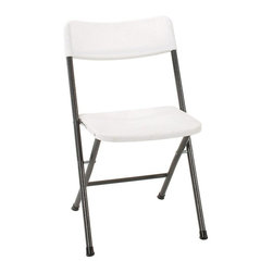 Cosco Office - 28.9 in. Resin Folding Chair - Set of 4 - Set of 4. Folds up tight and compact for easy storage. Durable steel frame with powder coated finish. Resin seat and back. Lightweight. Flexible for indoor and outdoor use. Use of cross braces and tube in tube reinforced frame. Leg tips protect floor surfaces. Warranty: One year. Made from steel and polypropylene. White color. 17.3 in. W x 15.7 in. D x 28.9 in. H (5.2 lbs.)