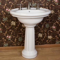 "Wyndham Pedestal Sink - A classic look to complement nearly every style of decor, the Wyndham Pedestal Sink sits on an attractive column pedestal with layered moldings at the neck and foot. Comes with 12"" widespread faucet drillings."