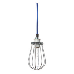 Industrial Light Electric - Wire Cage Pendant Light, Black Twist Cord, White Socket / Canopy - Please look at second image for cord color choice.