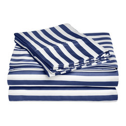 """600 Thread Count King Sheet Set Cotton Rich Cabana Stripe, Navy Blue - Send yourself on a tropical vacation every night with this Cabana Inspired sheet set from Impressions. This design features stripes of white and the sets specified color and is made with a superior blend of materials that makes these sheets soft, easy to care for and wrinkle resistant. Set includes one flat sheet 108""""x102"""", one fitted sheet 78""""x80"""", and two pillowcases 20""""x40"""" each."""