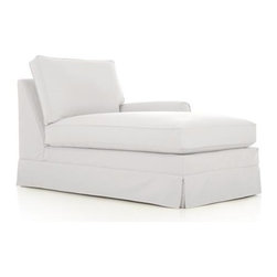 Harborside Slipcovered Sectional Right Arm Chaise - Casually dressed with cottage style, Harborside really knows how to take life easy. Its deep-cushioned, relaxed attitude fits any room, while its machine-washable skirted slipcover takes on everyday living. Petite rolled arms, deep seat and high back cushions sit big and comfortable.