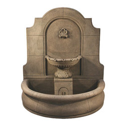 Provincial Wall Fountain with Basin, Country Oak - Want to give your garden a peaceful atmosphere and fascinate everyone's imagination? The Al's Garden Art Provincial Wall Fountain with Plain Basin is a exquisite work of art. This beautiful cast stone fountain has been made by hand in the USA by highly trained artisans, and is sure to become a precious family heirloom. The Al's Garden Art Provincial Wall Fountain with Plain Basin is just perfect for setting up an appealing and relaxing atmosphere in your garden.