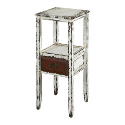 Powell - Powell Parcel White 1-Drawer Accent Table - The Parcel collection combines an antique, weathered look with a rustic industrial feel. Its distressed look is trendy, popular and full of unique character. The layered antique white finished accent table features one drawer and one shelf that provide the perfect amount of storage and display space. A decorative pull accents the front of the single drawer. A unique addition to any space in your home. Fully assembled.
