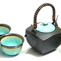 MySushiSet.com - Ocean Breeze Japanese Tea Set - This squat square tea pot with a rattan handle features the Ocean Breeze theme represented by the sea blue tone with burnt brown finish.