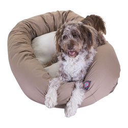 """Majestic Pet Products - 52"""" Khaki and Sherpa Bagel Bed - Give your pet 360 degrees of comfort with Majestic Pet Products 52"""" Khaki Sherpa Bagel Pet Dog Bed. Designed for both comfort and style, the bolster is made of a durable 7oz. Poly/cotton Twill with a Sherpa center cushion. The entire bed is stuffed with Super Premium High Loft Polyester Fiber Fill. The base of the bagel bed is made of a heavy duty, water proof 300/600 Denier to prevent the bed from sliding and to keep it safe from any spills or accidents. Our bagel beds are easy to clean - just place the entire bed in the washer on gentle cycle and air dry."""