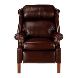 Ethan Allen - Townsend Leather Recliner, Old English/Chocolate - An elegant recliner for a traditional room, the Townsend's high back means even your tallest friends and family members will be comfortable. It offers three positions: upright, TV, and fully reclined. In decadent chocolate leather, it's the perfect combination of style and comfort.