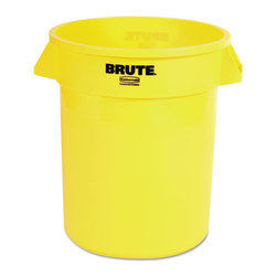 Rubbermaid Commercial - Rubbermaid Commercial Brute Refuse Container, Round, Plastic, 20 gal, Yellow - When there's trash that needs to be collected, this Brute gets down to business. All-plastic professional-grade container has ample room and durability. It won't rust, chip or peel; resists dents. Reinforced rims add strength. Molded grips. Lids and dolly sold separately.