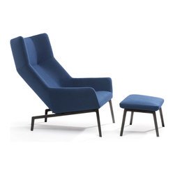 Park Chair with Ottoman - Elegant from all sides, Park is perfect for a wide range of environments including open concept spaces and lounges. The winged seat gives a sense of privacy and seclusion while being generous enough to promote multiple seating positions. The molded foam body contains an internal frame with elastic webbing so the whole chair can flex and adapt to the sitter. The marriage of innovative production techniques with considered dimensions creates a contemporary chair that is superbly comfortable and elegantly reduced.