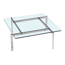 Lemoderno - Fine Mod Imports  Pika 61 Coffee Table, Clear - Beautiful glass top coffee table with a modern design base. Glass coffee tables are great for home use. Keep the perfect appearance in your living room or any other room of choice with a functional yet easy to clean glass coffee table.     Assembly Required